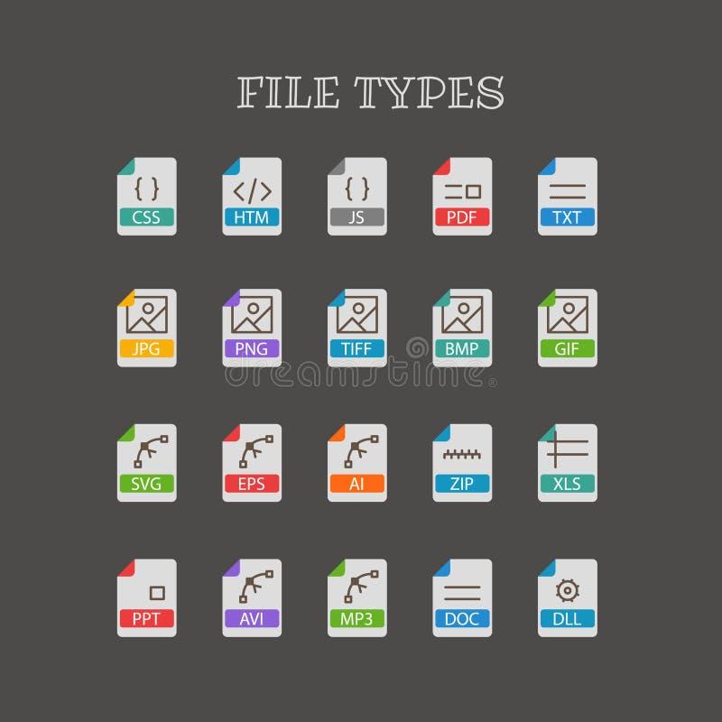 Olika filtyper gör linjen färgsymbolsuppsättning tunnare vektor illustrationer
