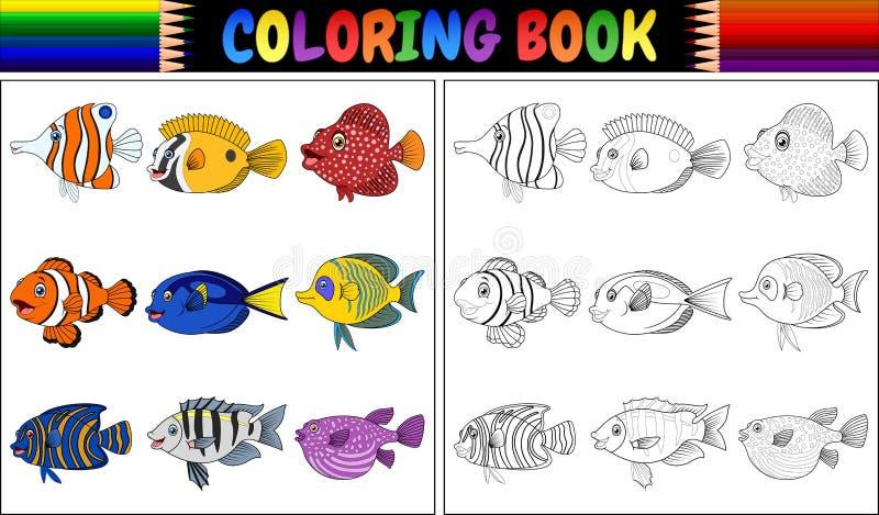 Olika fiskar för färgläggningbok stock illustrationer