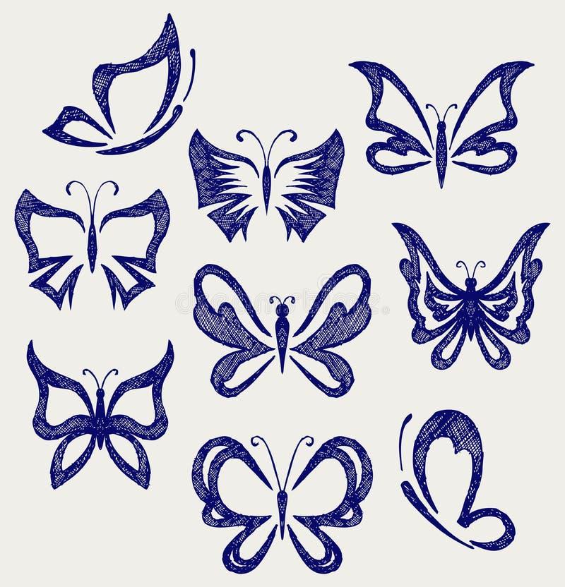 olika fjärilar Klottra stil stock illustrationer