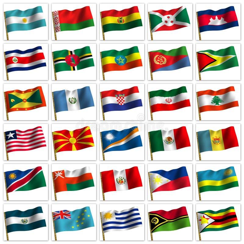 olika flaggor för collageländer royaltyfri illustrationer