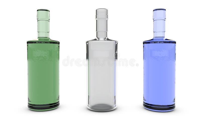 Olika flaskor på tolkningen för stång 3D royaltyfri illustrationer
