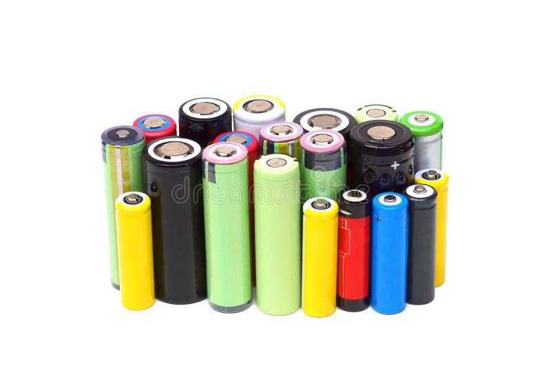Olika format av batterier för litiumjon royaltyfria foton