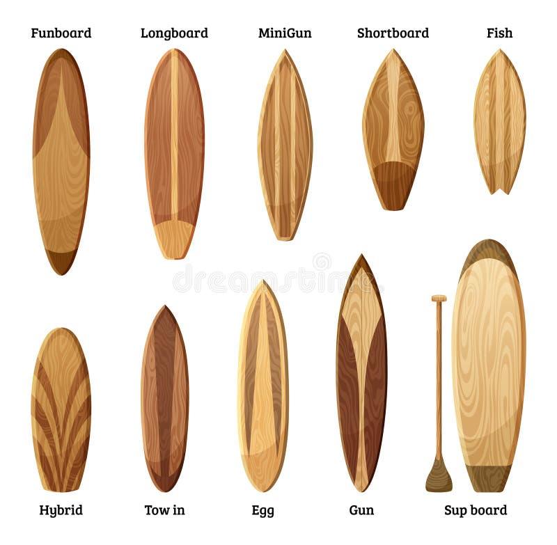 Olika format och designer av den wood surfingbrädaisolaten på vit bakgrund också vektor för coreldrawillustration vektor illustrationer