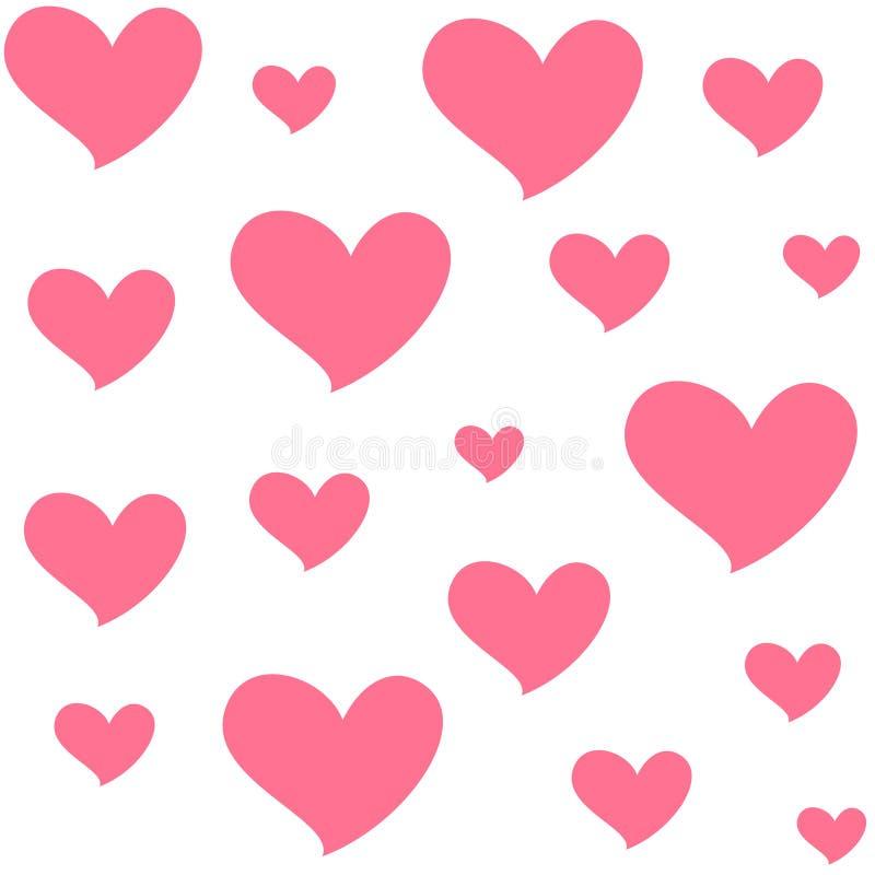Olika formatrosa färghjärtor Isolerad sömlös modell på vit bakgrund Symbol av förälskelse och romans stock illustrationer