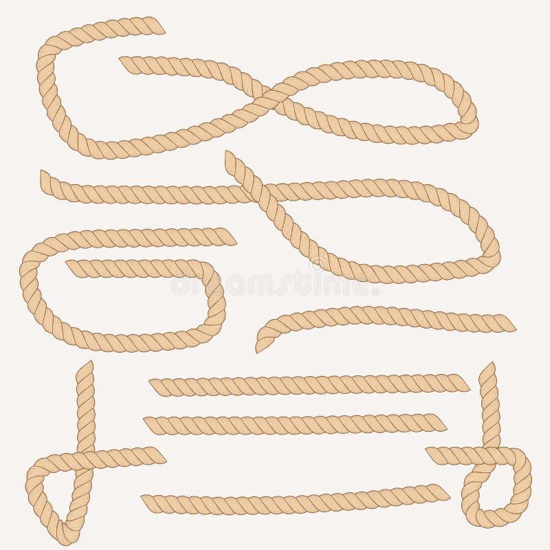 Olika former, bruna rep för format på vit bakgrund vektor illustrationer