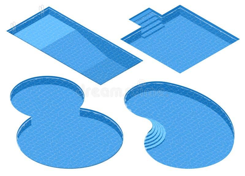 Olika formsimbassänger för isometrisk uppsättning Rektangulär, fyrkantig dubbel runda, oval pöl royaltyfri illustrationer