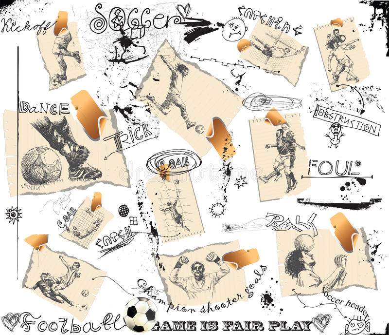 olika fotbollsspelarekort vektor illustrationer