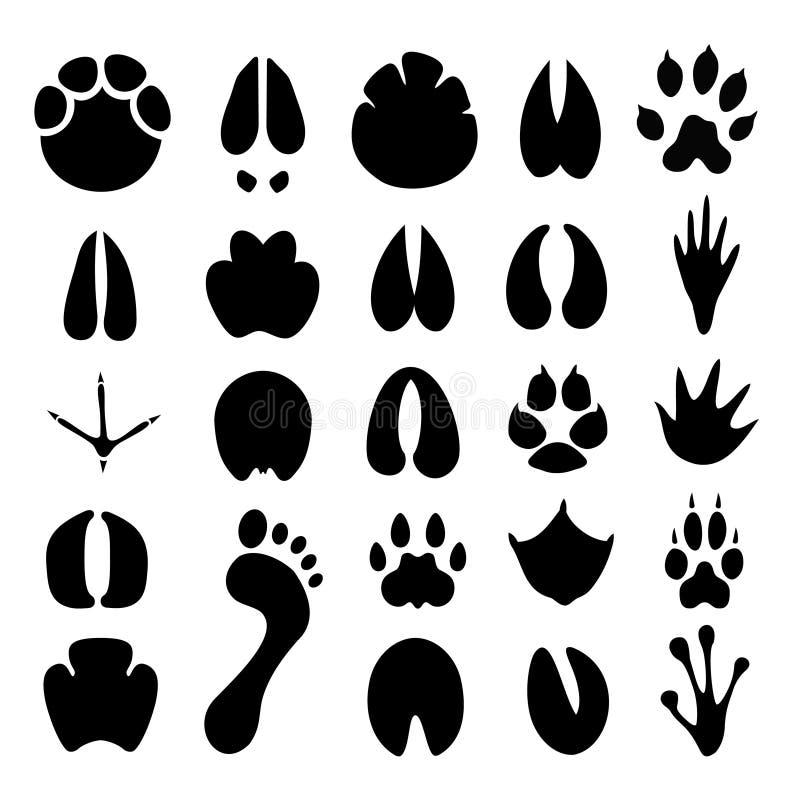 Olika fotspårkonturer royaltyfri illustrationer