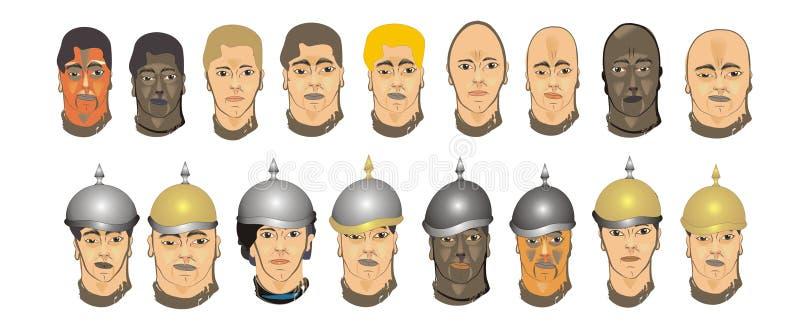 Olika framsidor av män royaltyfri illustrationer