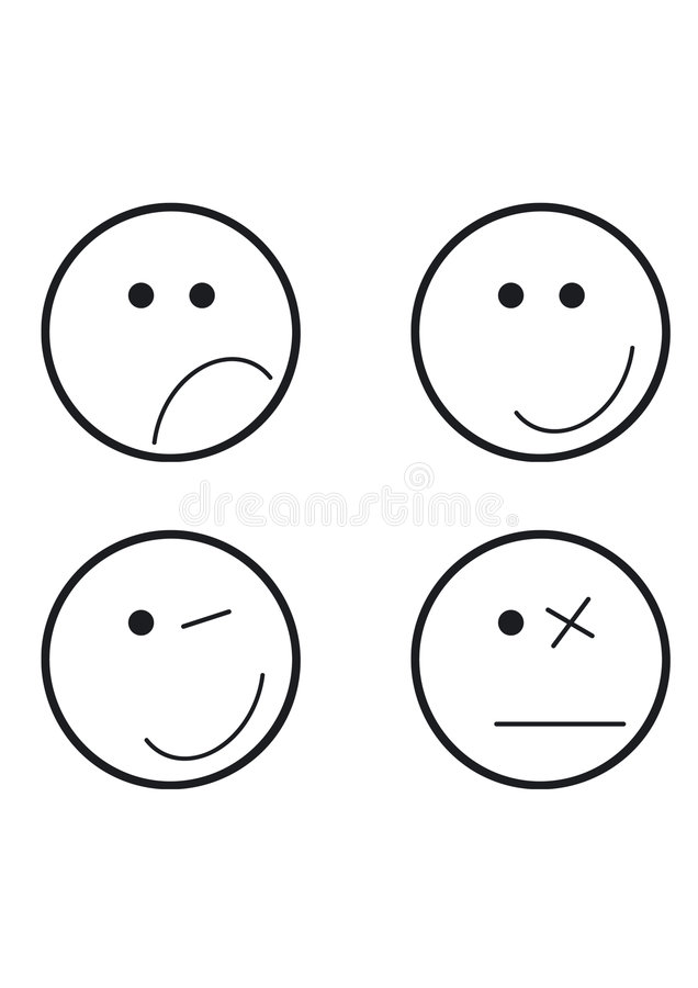 olika framsidor fyra symboler stock illustrationer