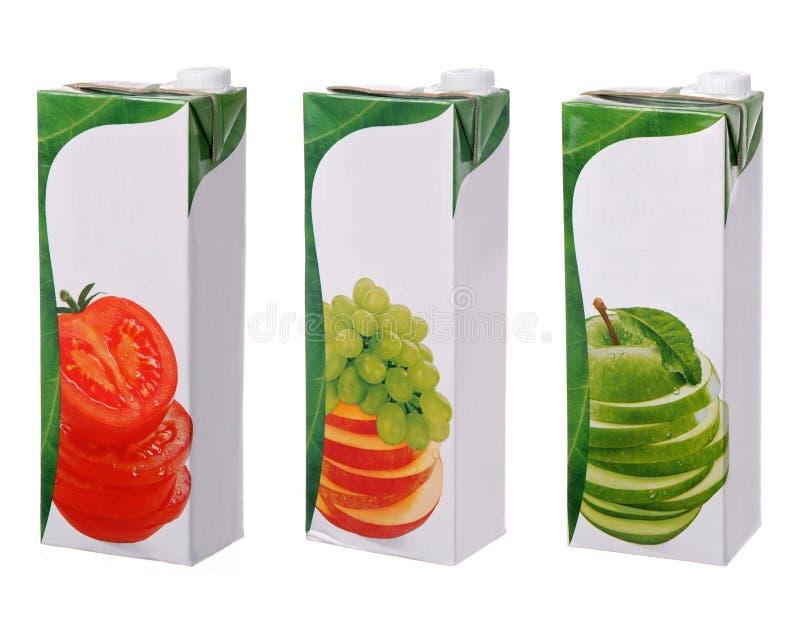 Olika fruktsaftpackar arkivbild