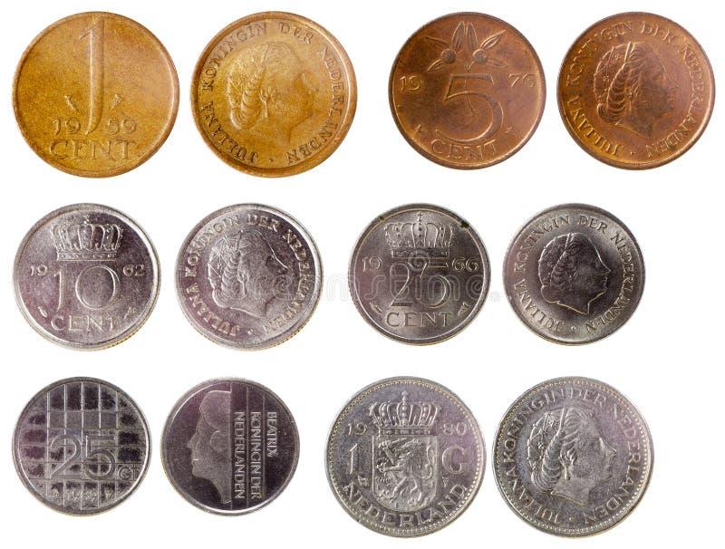 Olika gamla mynt av Nederländerna arkivbilder