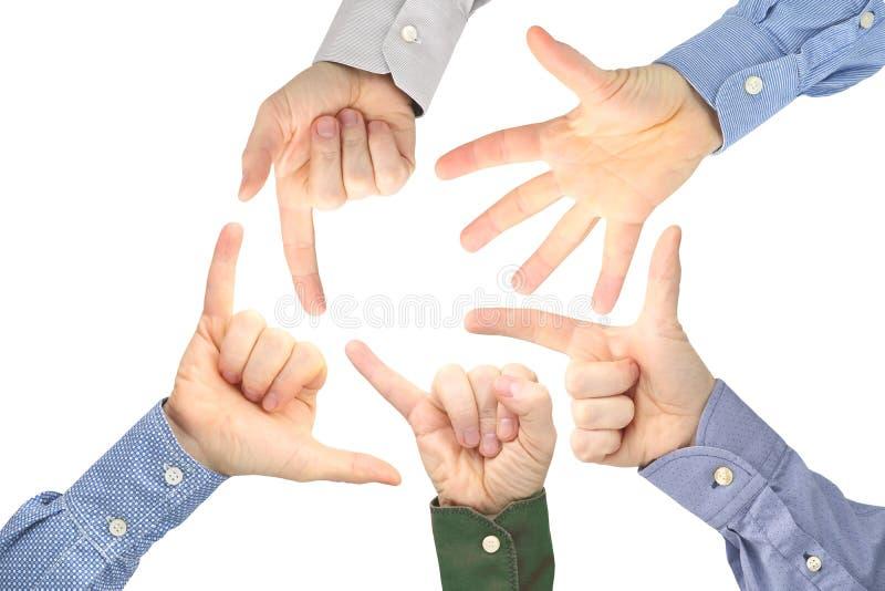 Olika gester av manliga händer mellan de på en vit bakgrund royaltyfria foton