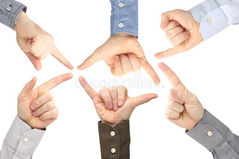 Olika gester av manliga h?nder mellan de p? en vit bakgrund royaltyfri fotografi