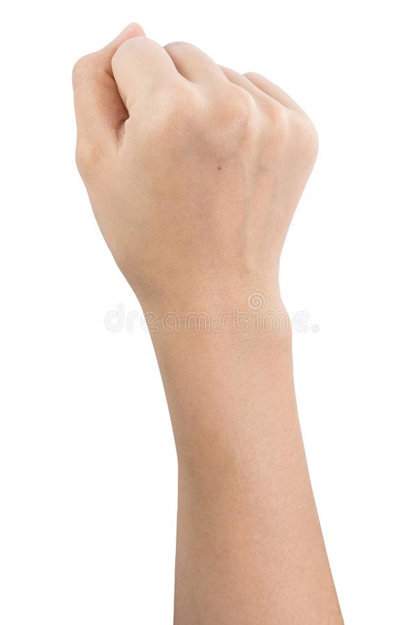 Olika gester och tecken av kvinnas hand som isoleras p? vit bakgrund med urklippbanan royaltyfria foton