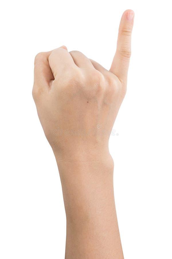 Olika gester och tecken av kvinnas hand som isoleras p? vit bakgrund med urklippbanan fotografering för bildbyråer