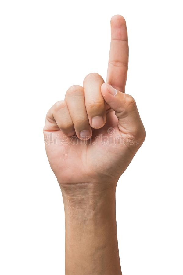 Olika gester och tecken av mans hand som isoleras på vit bakgrund med urklippbanan arkivbild