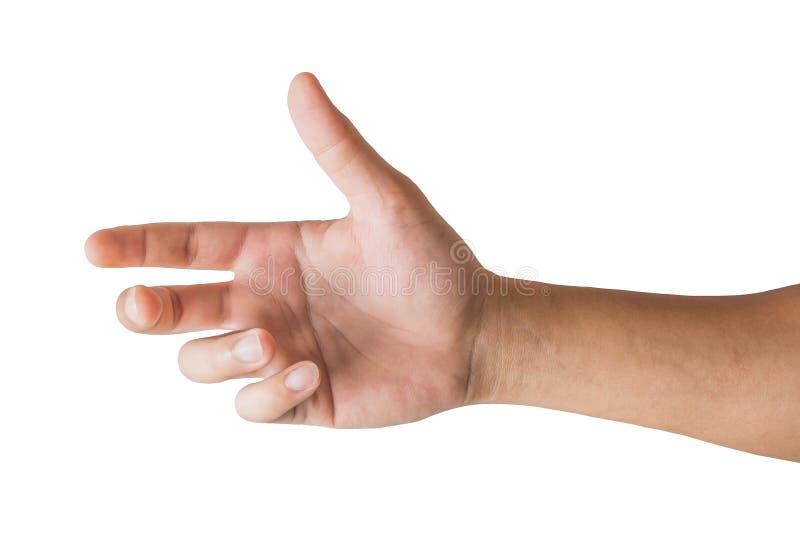 Olika gester och tecken av mans hand som isoleras p? vit bakgrund med urklippbanan arkivbild