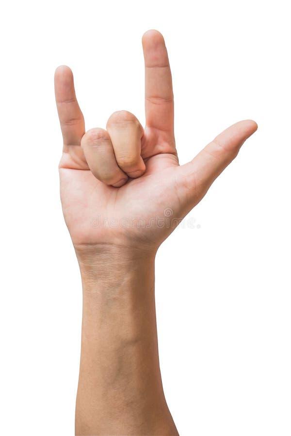 Olika gester och tecken av mans hand som isoleras p? vit bakgrund med urklippbanan royaltyfri foto