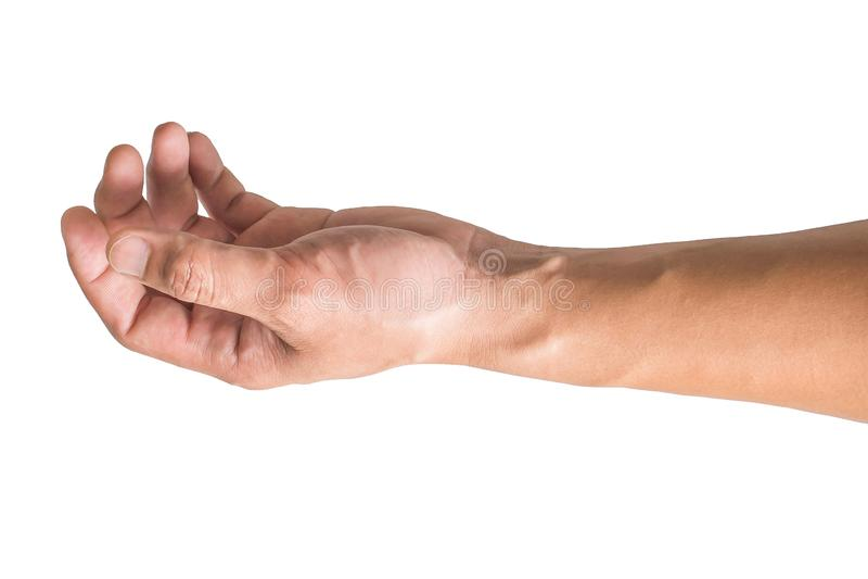 Olika gester och tecken av mans hand som isoleras p? vit bakgrund med urklippbanan arkivfoton