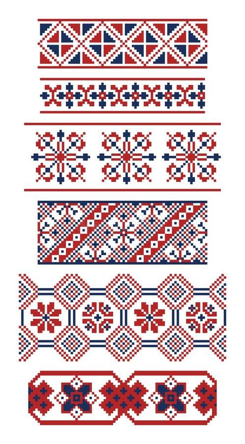 Olika gränser av ryska prydnader stock illustrationer