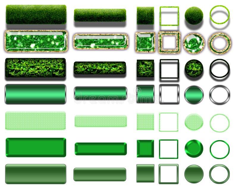 Olika gröna färger av knappar och symboler för webdesign royaltyfri foto