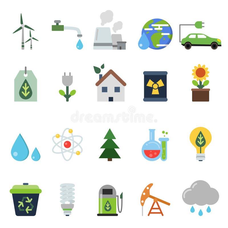 Olika gröna symboler på ekologitemat Vektorsymbolsuppsättning i plan stil royaltyfri illustrationer