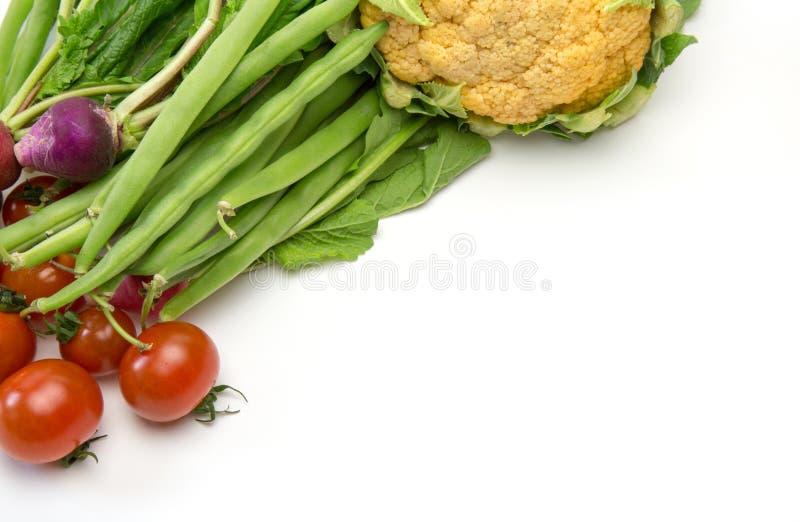 Olika grönsaker i en vit bakgrund arkivfoton