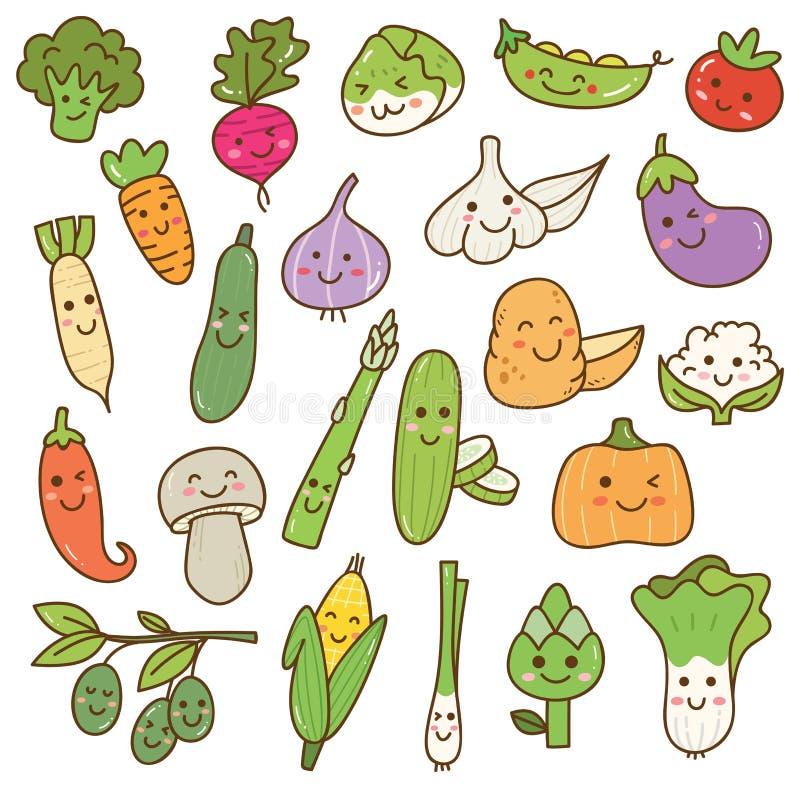 Olika grönsaker klottrar kawaiidesignbeståndsdelen stock illustrationer