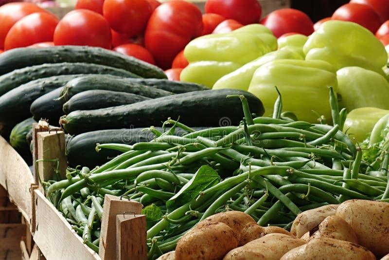 Olika grönsaker som visas i träfall på marknadsplats arkivfoton