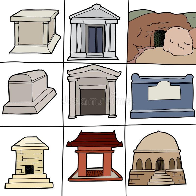 Olika gravvalv royaltyfri illustrationer