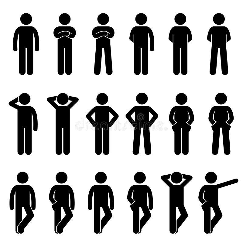 Olika grundläggande stående mänskliga manfolkkroppsspråk poserar ställingspinnediagramet uppsättning för Stickman Pictogramsymbol stock illustrationer