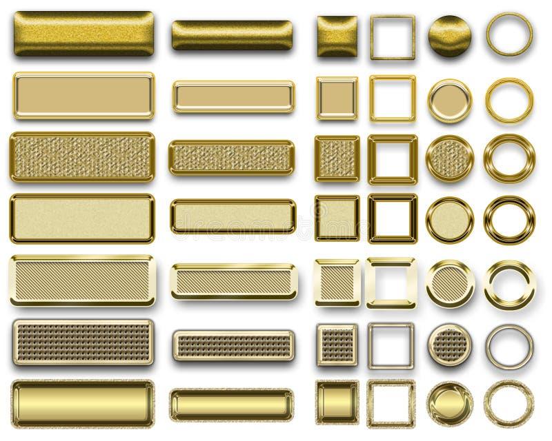 Olika guld- färger av knappar och symboler för webdesign royaltyfri fotografi