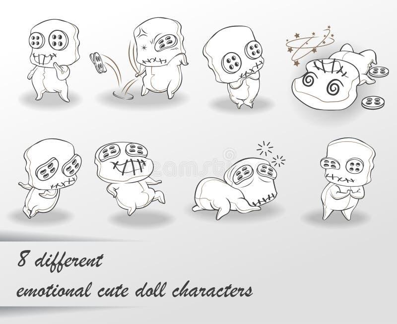 8 olika gulliga dockatecken royaltyfri illustrationer