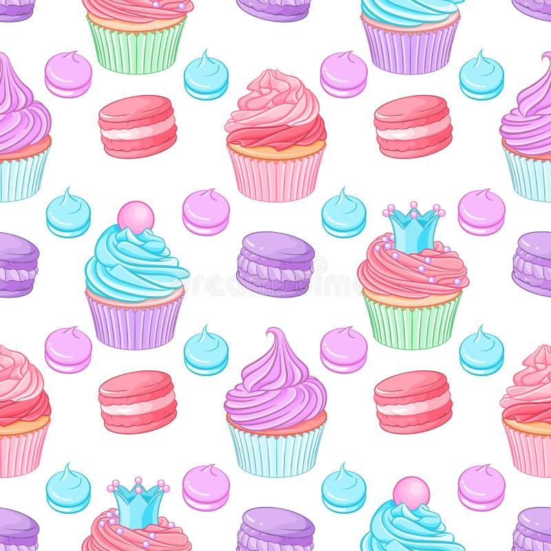 Olika gulliga ljusa färgrika blått-, rosa färg- och lilaefterrätter Sömlös vektormodell på vit bakgrund royaltyfri illustrationer