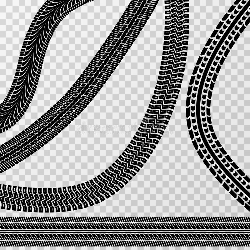 Olika gummihjulbil- och cykelspår på rutig bakgrund - vektormateriel royaltyfri illustrationer
