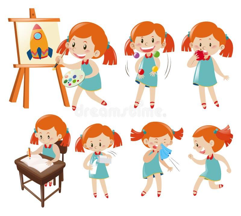 Olika handlingar av lilla flickan i blått royaltyfri illustrationer
