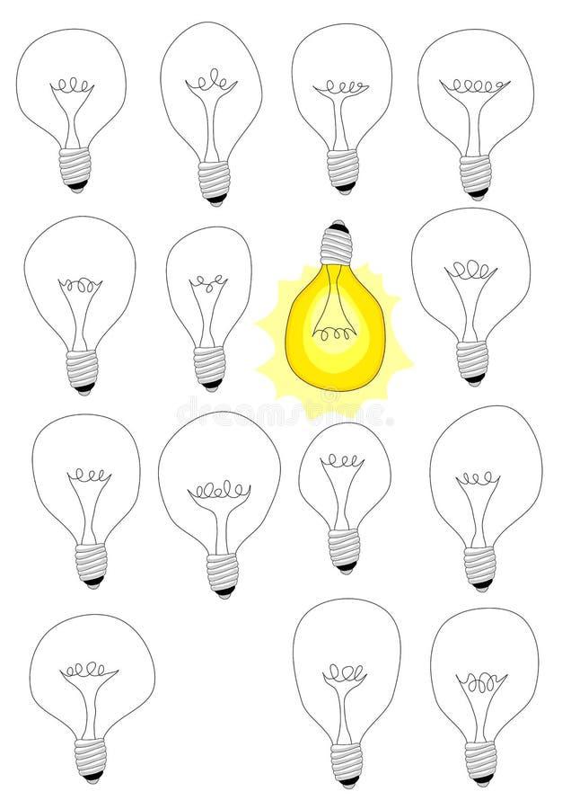 Olika idélampor för funderare royaltyfri illustrationer