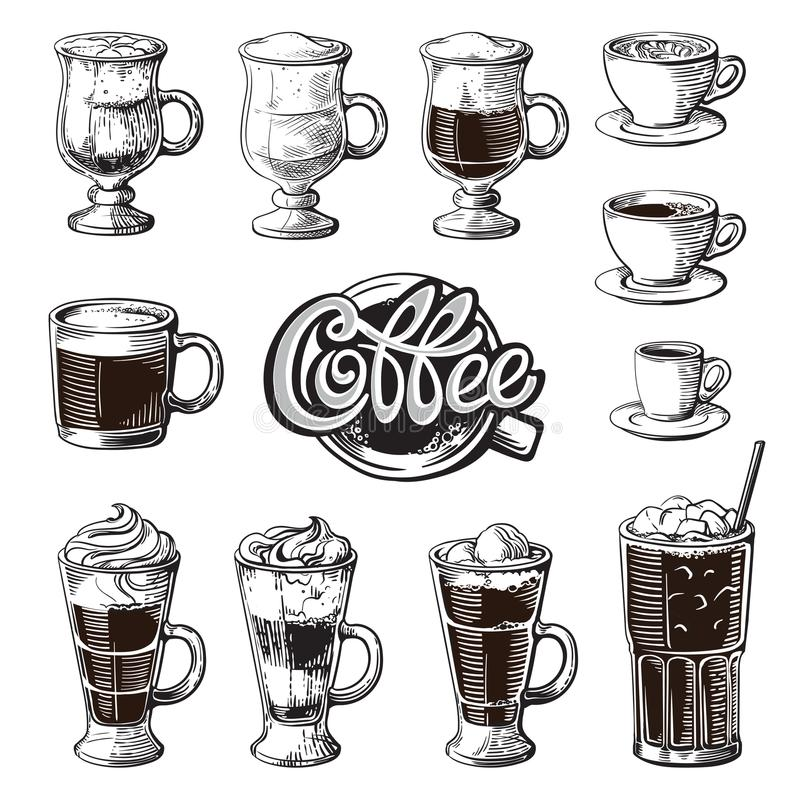 Olika isolerade kaffedrinkar Latte för americano för irländsk frappe för kakao för mocka för ristretto för espressomacchiatochokl stock illustrationer
