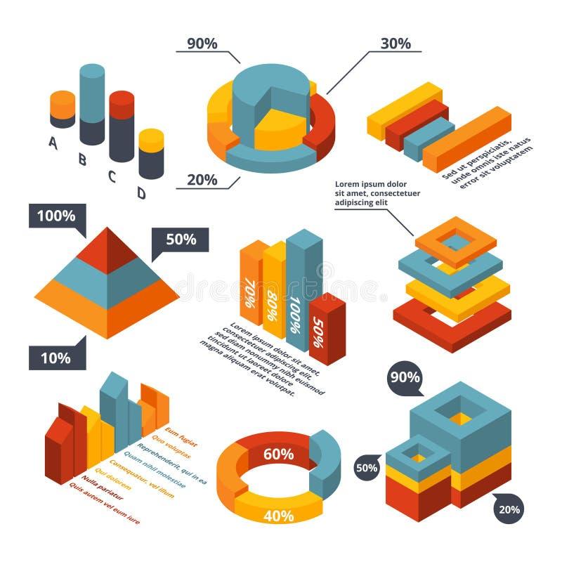 Olika isometriska beståndsdelar för den infographic affären Grafiska diagram, diagram 3d royaltyfri illustrationer