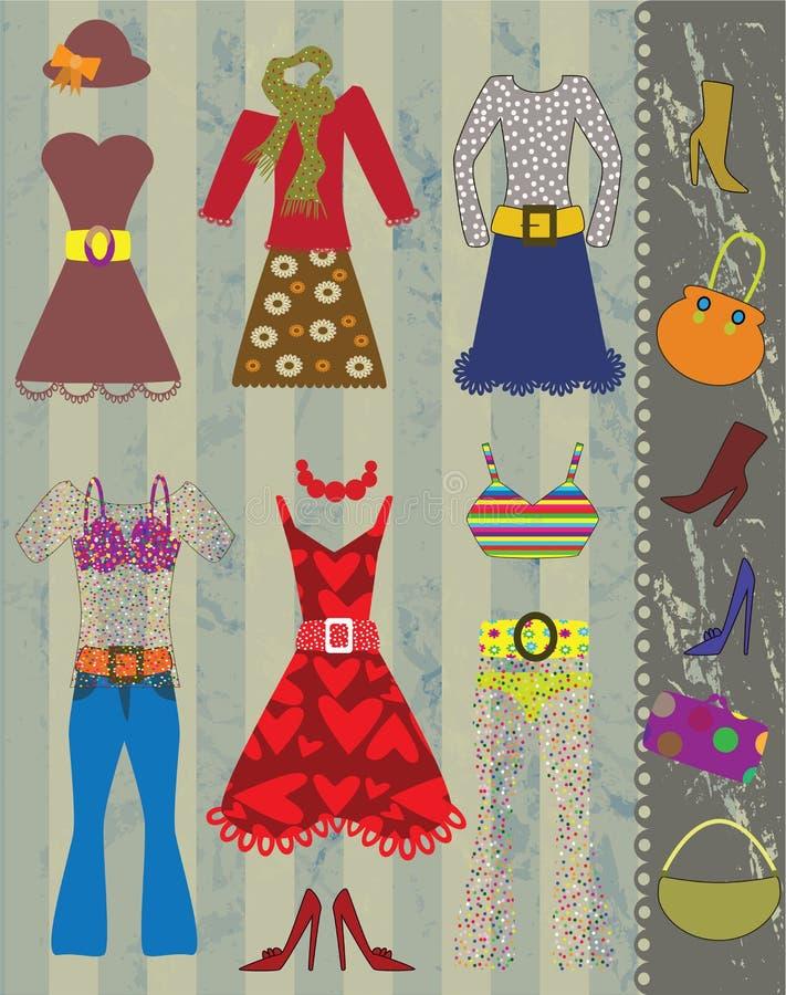 Olika kläderobjekt vektor illustrationer