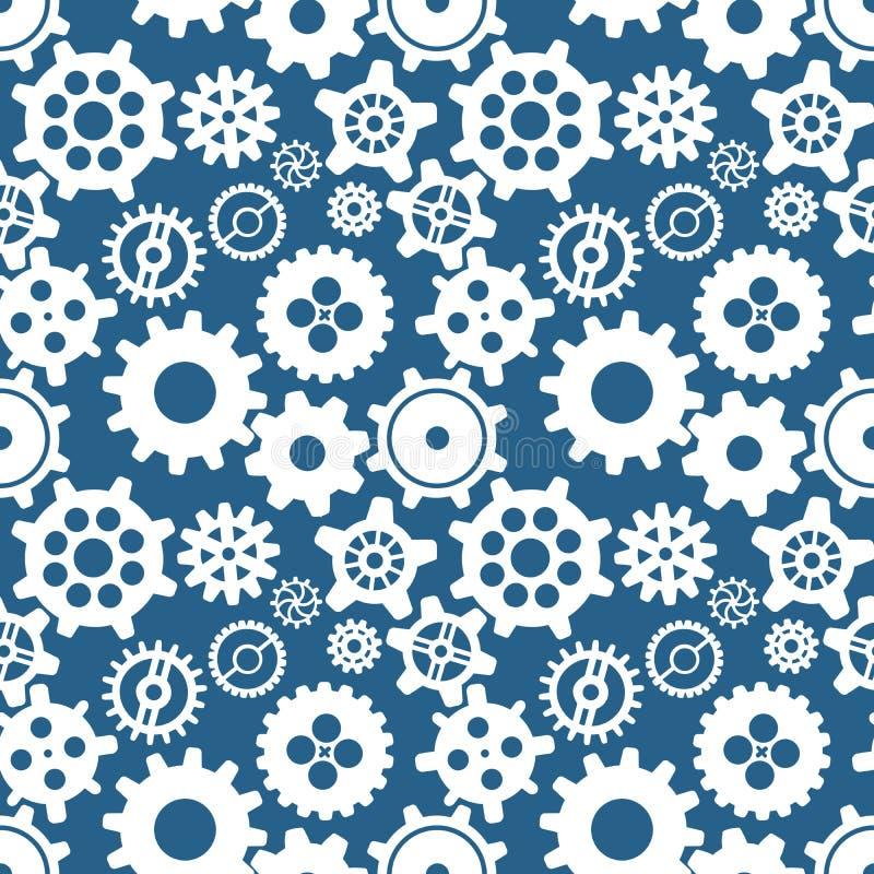 Olika konturer av kugghjul på blått, sömlös modell vektor illustrationer