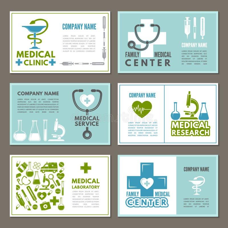 Olika kort med designmallen på temat av medicin och vetenskap royaltyfri illustrationer