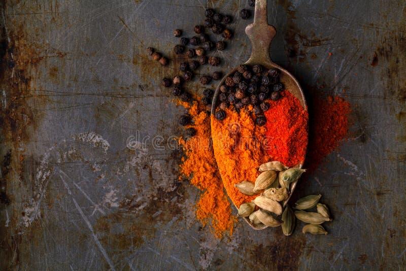 Olika kryddaskedar och örter på en lantlig bakgrund arkivfoto