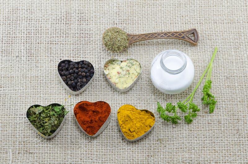 Olika kryddor i hjärta chaped behållare med salt och skeden royaltyfri fotografi