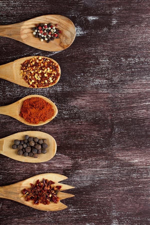 Olika kryddor i tr?skedar p? bakgrund f?r m?rk brunt Olika typer av paprika och pepparkornet arkivbilder