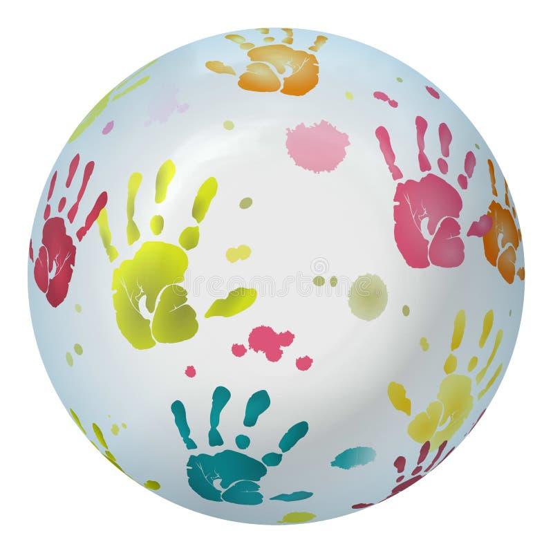 Olika kulöra handprints som kartläggas på boll vektor illustrationer