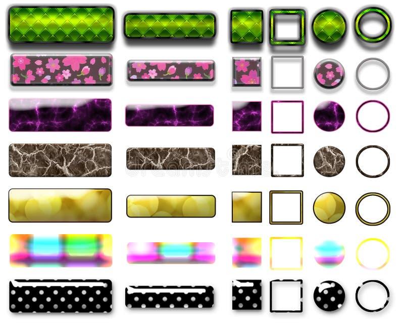 Olika kulöra knappar och symboler för rengöringsdukdesign royaltyfria bilder