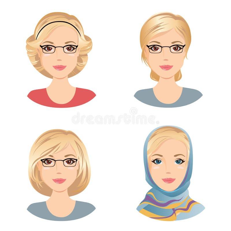 Olika kvinnliga frisyrer För kvinnan med blont hår åldrades mitt kvinnan vektor illustrationer