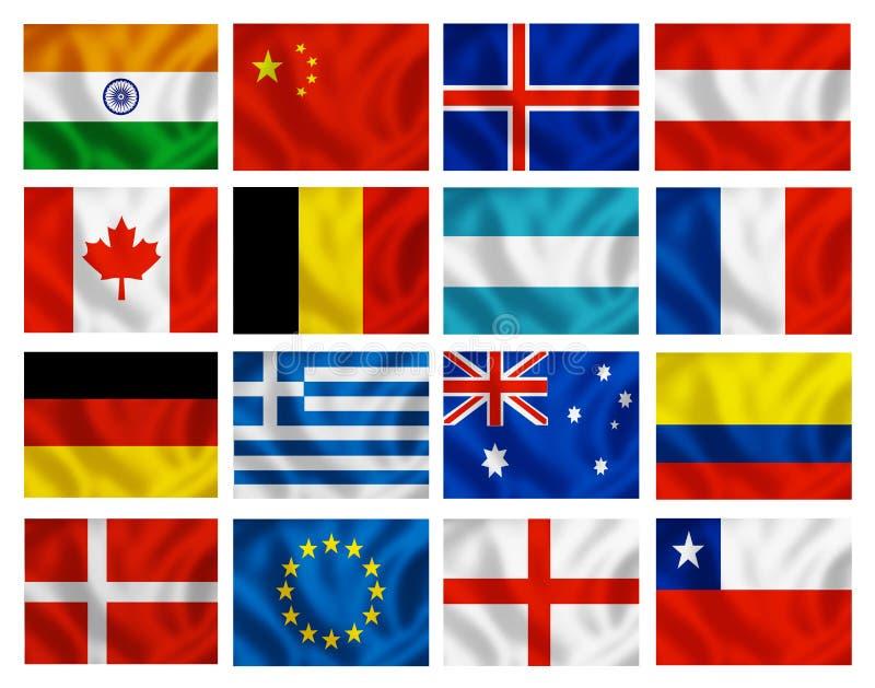 olika landsflaggor royaltyfri illustrationer